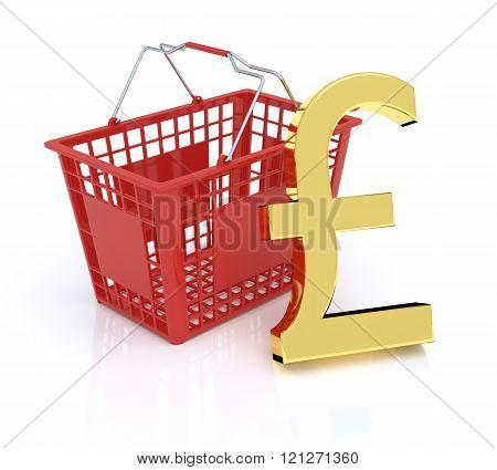 Shopping Basket On White Background With Pound Symbol