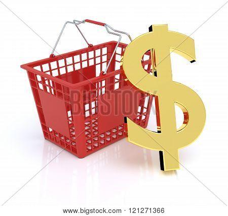 Shopping Basket On White Background With Dollar Symbol