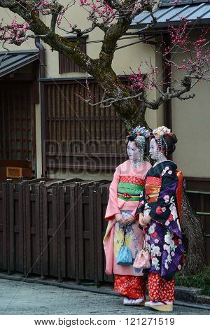 Young women dressed as geishas in Kyoto, Japan