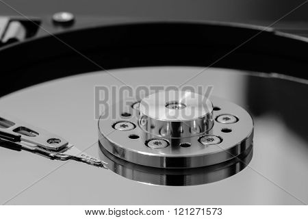 Macro of a read-write head on a hard disk drive platter