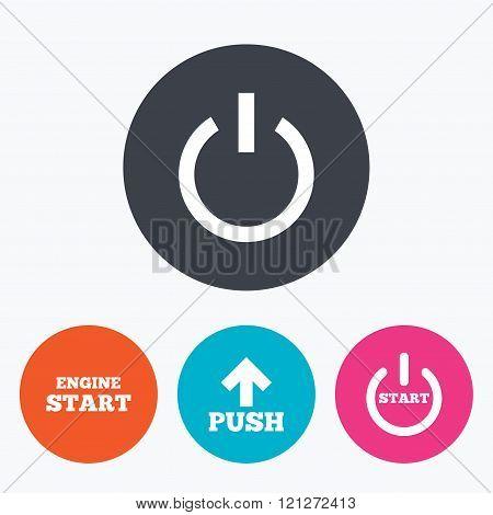 Power icons. Start engine symbol. Push arrow.