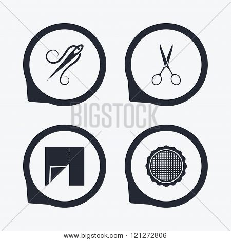 Textile cloth piece icon. Scissors hairdresser.