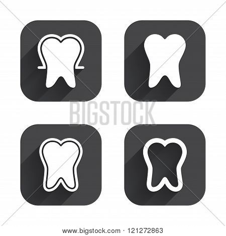 Tooth enamel protection icons. Dental care signs