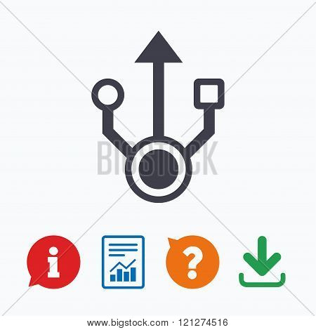 Usb sign icon. Usb flash drive symbol.