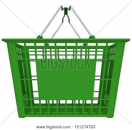 Green Shopping Basket Isolated Over White Background