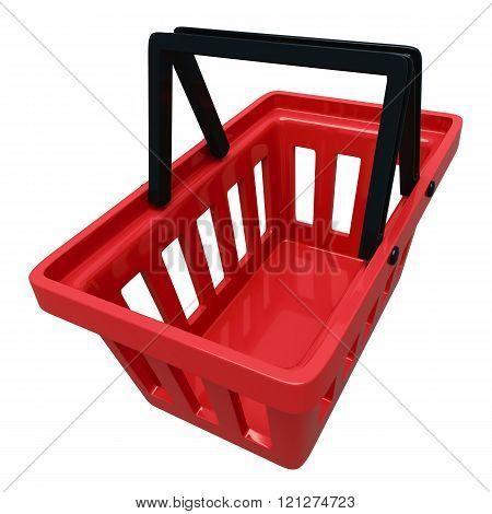 Empty Shopping Basket Isolated Over White Background