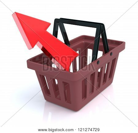 Shopping Basket On White Background With Remove Arrow