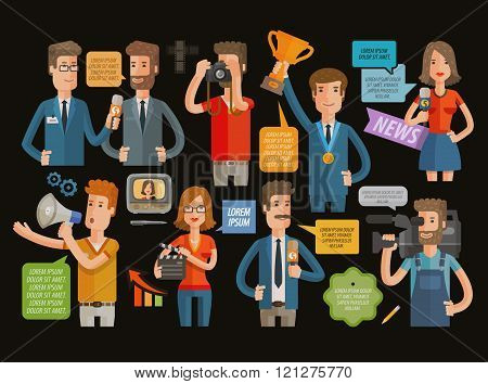 TV, broadcasting, journalism icons set. vector illustration