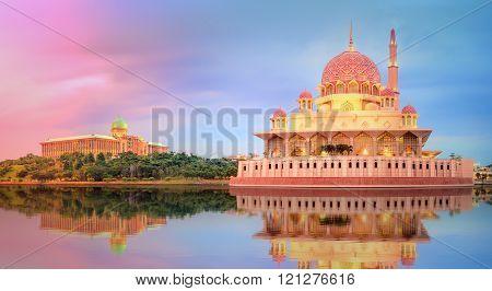 Sunset over Putrajaya Mosque, Kuala Lumpur
