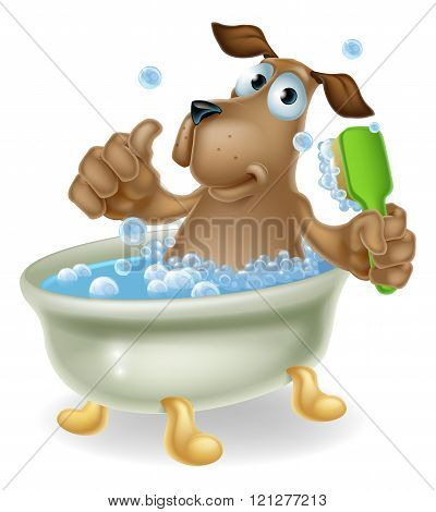 Dog In Bubble Bath Cartoon
