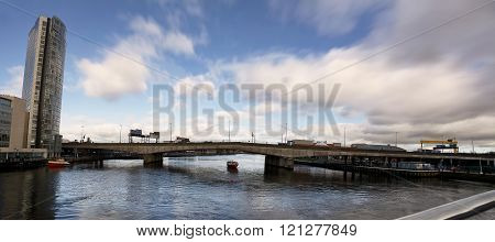 Belfast (united Kindom), february 22, 2016: Bridge of motorway on river Lagan in  Belfast in a sunny day