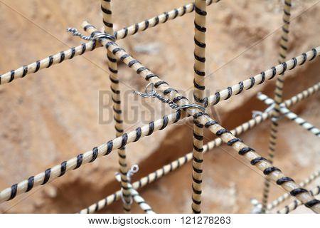 Composite Rebars. Reinforcing cage. Fiberglass reinforcement.