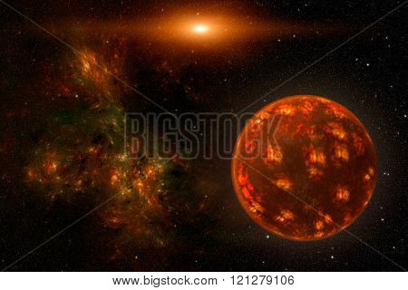 Cosmos scene with red planet, nebula and stars in space