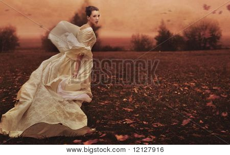 Running woman over nature background