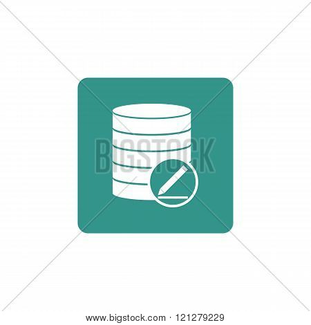 Database-modify Icon, On Green Rectangle Background, White Outline