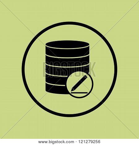 Database-modify Icon, On Green Background, Circle Border, Dark Outline