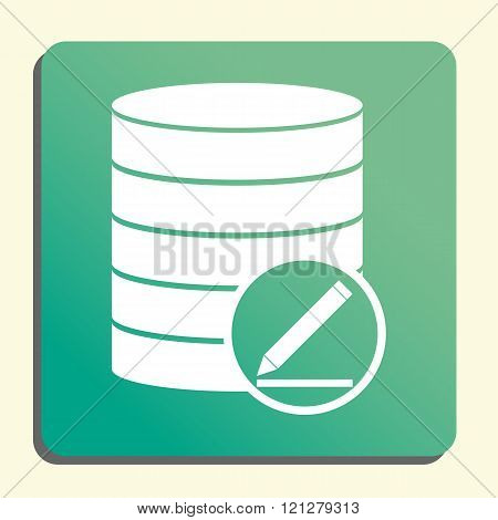 Database-modify Icon, On Button Style Green Background, Yellow Light, Shadow