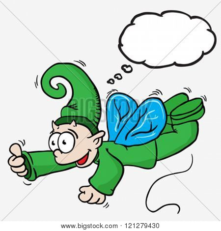flying elf with thought bubble cartoon