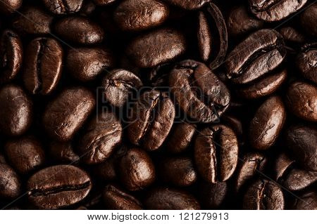 Extreme close-up image of coffee beans, background image