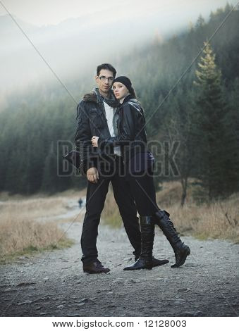 Young couple in nature scenery