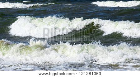 White waves at the sea