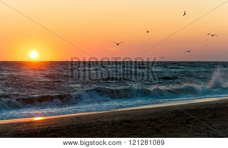 Sunrise during a storm on the Sea of Azov