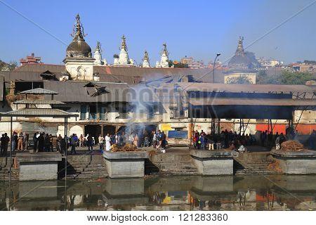 NEPAL KATHMANDU - DECEMBER 2013 - View of Pashupatinath - hindu temple situated on the bank of holy Bagmati River in Kathmandu - Nepal