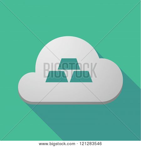 Long Shadow Cloud Icon With Three Gold Bullions