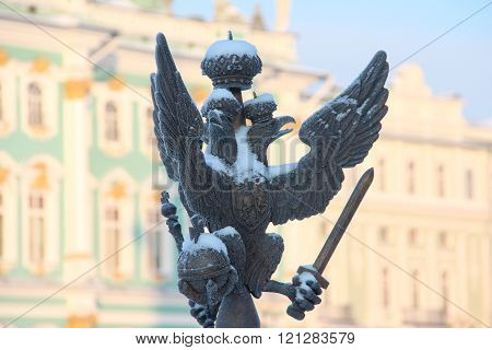 Close up details fence decorations with the Russian imperial double-headed eagle symbol covered with