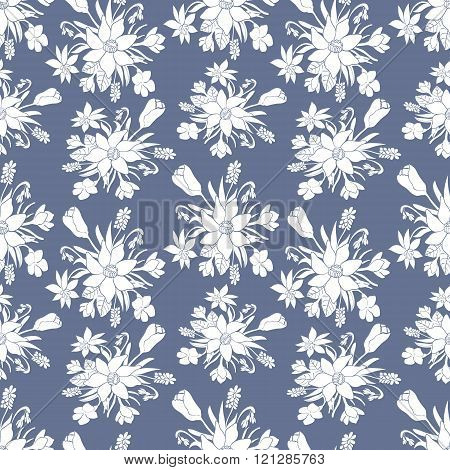 Seamless monochrome vector pattern with spring flowers.