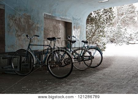 Bicycles In Tunnel