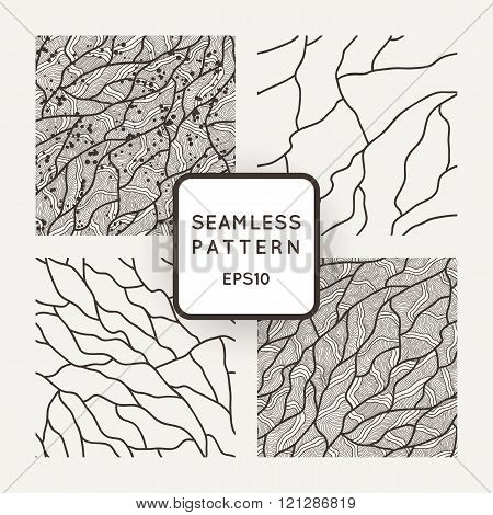 Set of vector seamless patterns in the style of veining or cracks.
