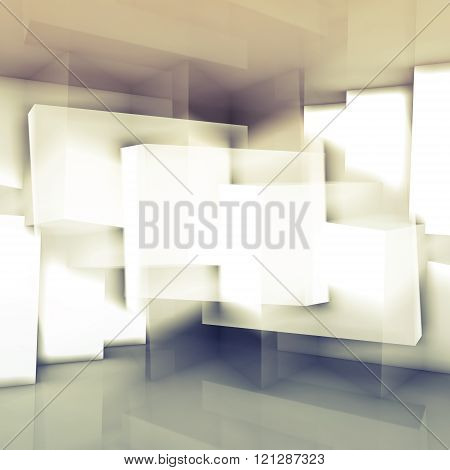 Chaotic cubic structures square 3d illustration