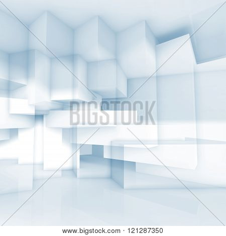 Chaotic Cubic Structures Pattern, 3D Illustration