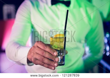 Bartender serving glass of gin at bar counter in bar