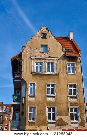 Facades destroyed building in Poznan