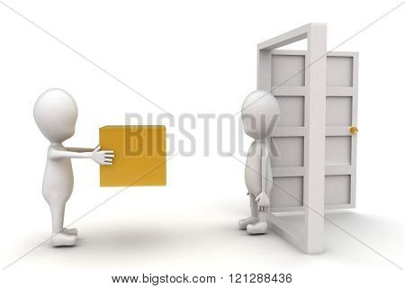3D Man Deliverying Box At Door To Another Man Concept