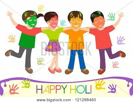 Illustration of dirty kids in different colors playing Holi