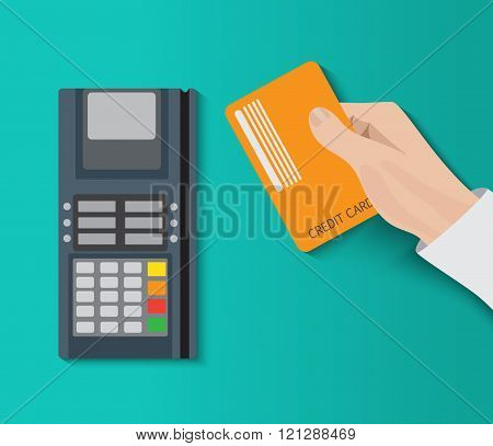 Hand holding credit card and using pos terminal. Fast payment.