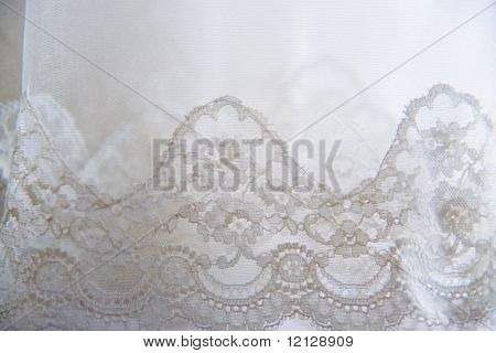 Thin lace edge of wedding veil