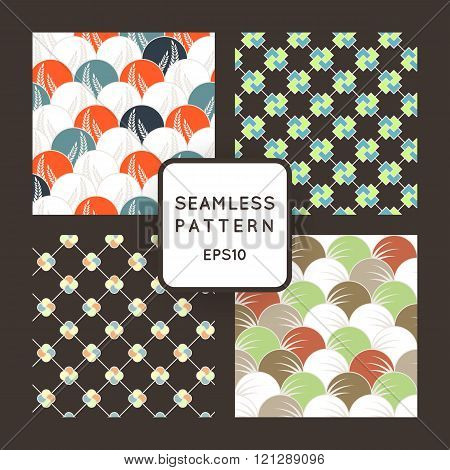 A set of four vector seamless floral and geometric patterns. Japanese style. Arabic style.