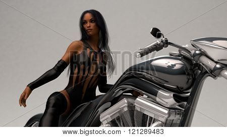 biker girl wearing leather outfit