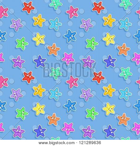 Vector Marine seamless pattern with colorful starfish. Pattern for children.