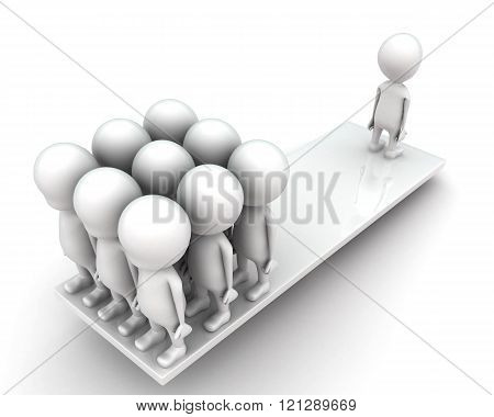 3D Men Standing Seesaw One Man On On Side And Group Of Men On Other Side Concept