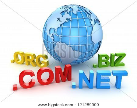 Internet Domain And Blue World Map