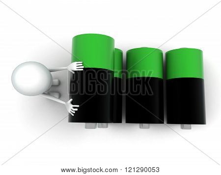3D Man With Green And Balck Battery Cells Concept