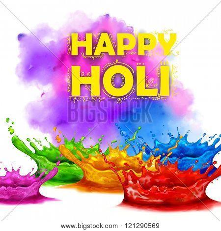 illustration of colorful splash in Happy Holi background