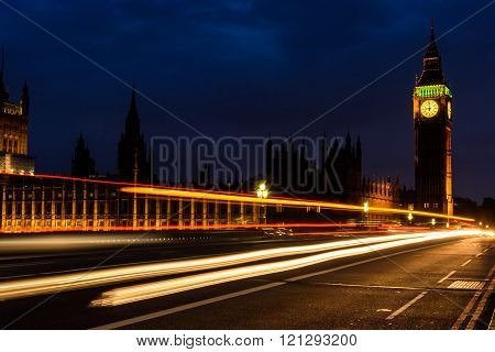 Light Trail In The Night At Big Ben Clock Tower, Uk