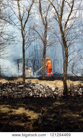 Civil Protection Of Friuli Venezia Giulia In Action For Extinguish A Big Fire In The Forest