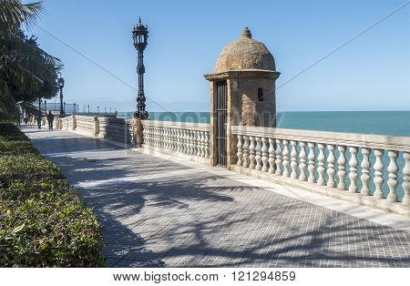Boardwalk of Cadiz Genoves Park Andalucia Spain. Sea Sunny day and nice sky.